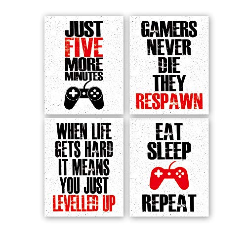 """HPNIUB Funny Game Art Print Inspirational Words Quote Poster Set of 4 (10 """"X8 """"Canvas Gaming Wall Art for Kids Boy Bedroom Playroom Home Decor,No Frame"""