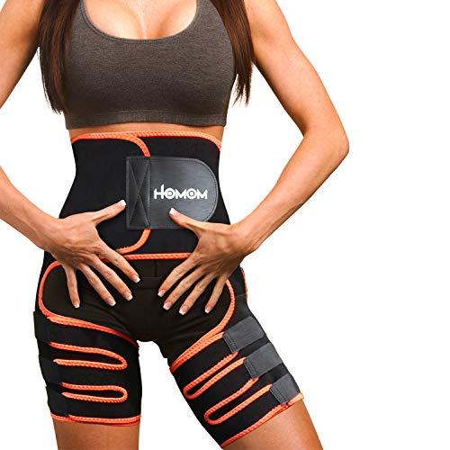 HLOMOM Oberschenkel Trimmer,Taillen Trimmer,3 in 1 Fitnessgürtel Shaper Taillen trainer Bauchweggürtel Neoprene Abnehmen Taillentrainer Oberschenkelbandage Fitness Gürtel für Yoga Sport Training(L-XL)
