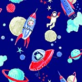Arthouse Starship Star Pattern Space Man Rocket Glitter Childrens Wallpaper (Blue 668000) Blue 668000