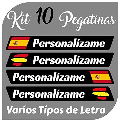 Kit x10 Pegatinas Vinilo Bandera España + tu Nombre - Bici, Casco, Pala De Padel, Monopatin, Coche, Moto, etc. Kit de 10 Vinilos (Font Pack 2)
