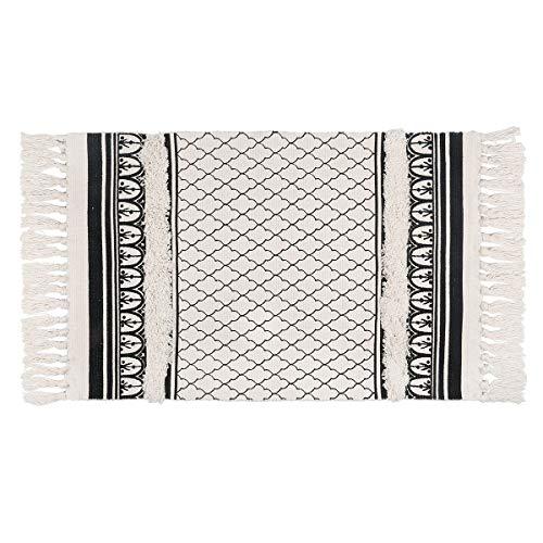 SHACOS Tapis Coton Lavable Tapis Vintage Noir Tapis Marocain Salon Chambre À La Maison Tapis avec Franges 60 x 90 cm