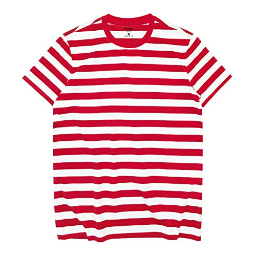 Zengjo Red and White Striped Shirt(XL,Red&White WD(Red Rib))