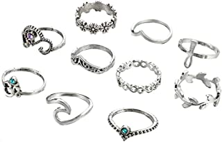 Retro Rings Fashion Rings Hollow Carved Flowers Joint Knuckle Rings Sets