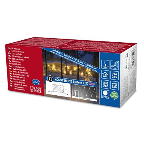 Konstsmide 4683-112 Système de Rallonge pour Filet Lumineux 104 LEDs Etanche Blanc Chaud Câble Blanc Doux