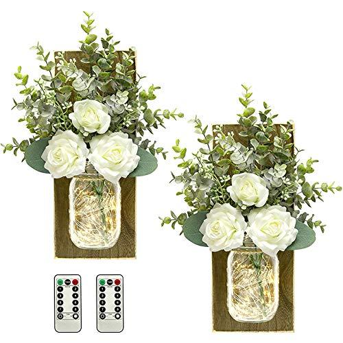 Aplique de pared rústico lámpara de pared decorativa hecha a mano colgante tarro luz control remoto flor artificial arte lámpara para sala dormitorio decoración