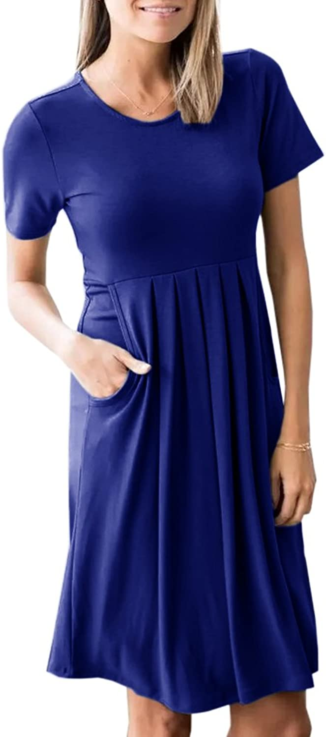 Inorin Womens Summer Casual Fit and Flare Swing Short Sleeve Plain Dress with Pockets