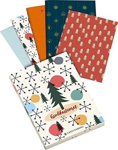 Weihnachten - Grußkartenset: 8 Klappkarten mit Kuvert, 4 farbige Motive