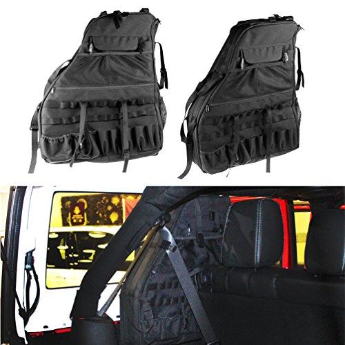 SUNPIE Roll Bar Storage Bag Cage for 2007~2018 Jeep Wrangler JK JL CJ TJ Rubicon 4-Door with Multi-Pockets & Organizers & Cargo Bag Saddlebag Tool Kits Holder