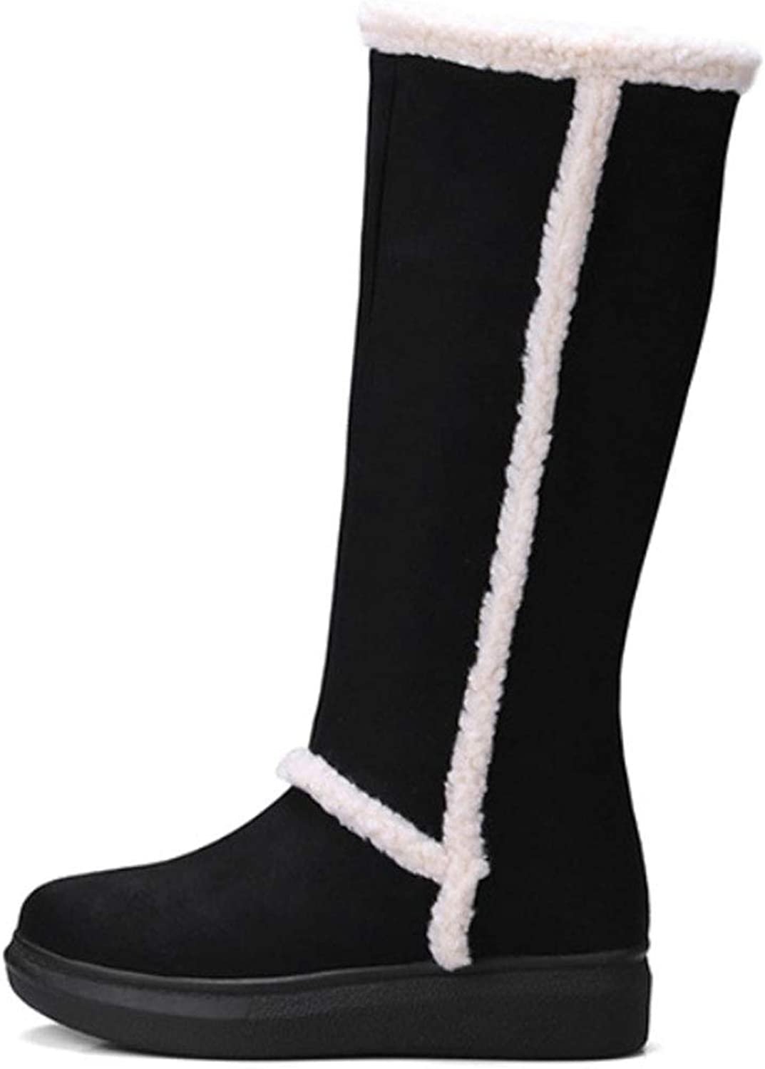 Women's Winter Cotton Boots, Plush Surface, Thick Warm, High Tube Snow Boots, Flat Round Head Boots
