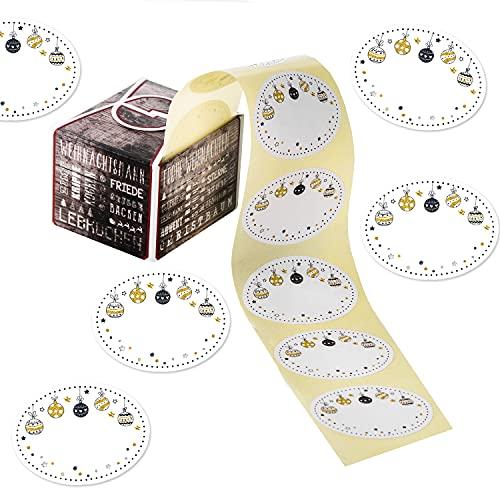 Logbuch-Verlag 200 etiquetas de Navidad para escribir en negro, blanco y dorado – etiquetas para regalo con nombre