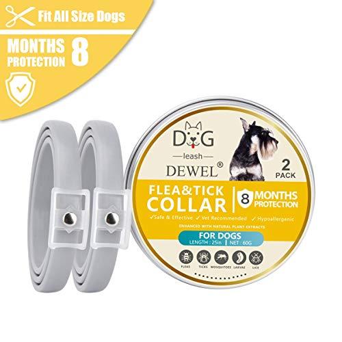DEWEL 2er X 63,5cm Zecken Halsband für Hunde und Katze, Verstellbar Wasserdicht Hund Flohhalsband, Natürlicher Zecken- und Flohschutz