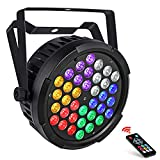 LED Stage Lights, OPPSK Updated Version Full 36W 36LEDs UV+Amber+White+RGB Par Lights by Remote DMX Control and Power Linking for Wedding Church DJ Party Stage Lighting