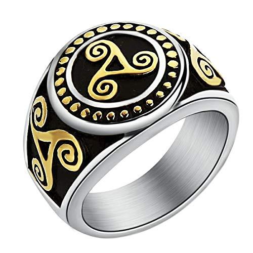 Hombre Norse Rune Odin Symbol Amuleto Anillo Joyería de acero inoxidable Anillo de nudo celta Encanto Anillos de boda para hombres 11 GoldandSilver