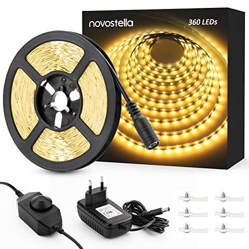 Novostella LED Strip 6m 3000K Warmweiß 12V, LED Streifen Dimmbar mit Netzteil 360 LEDS Lichtband 1800LM, LED Lichtleiste mit Kleber, Innenbeleuchtung für Deko Party Küche