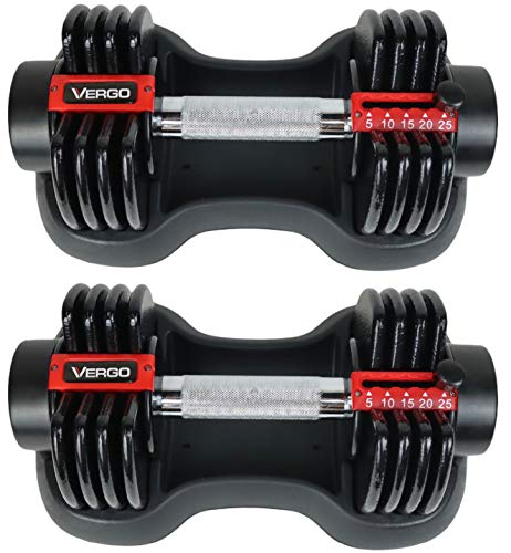 Vergo Adjustable Dumbbells 25lbs Each (Includes Pair)