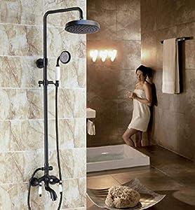 Hermanhao Grifo de baño de latón con toallita de aceite negro, grifo de ducha redondo de 7,7 pulgadas, grifo de baño, dos manijas de cerámica ars402-negro