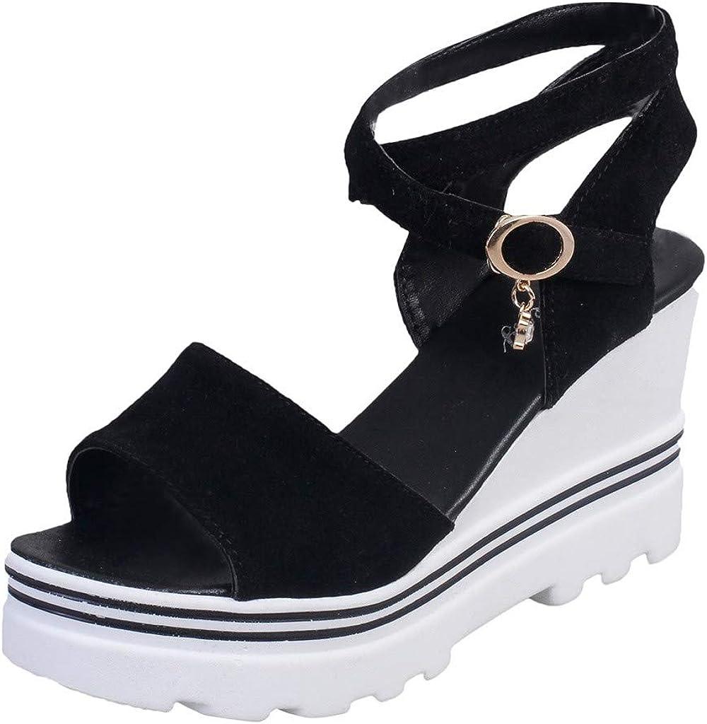 VEKDONE Wedge Sandals for Women,Adjustable Ankle Strap High Heel Slingback Espadrille Platform Sandals