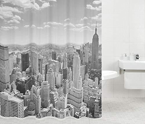 Duschvorhang Skyline New York 180 x 200 cm, hochwertige Qualität, 100prozent Polyester, wasserdicht, Anti-Schimmel-Effekt, inkl. 12 Duschvorhangringe