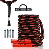 XGEAR Heavy Battle Rope, Exercise Training Rope with Anchor Strap, Wall Hanger Kit-100% Poly Dacron Workout Rope/Undulation Ropes for Full Body Strength Training - 1.5' Dia, 30/40/50ft.