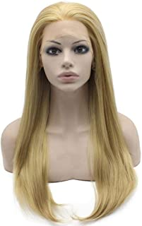 Long Straight Ash Blonde Lace Front Synthetic Wig Natural