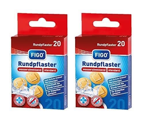 varivendo Notizblock und Figo Wund-Pflaster 20er Rund Hautfarben Rundpflaster (40 Pflaster)