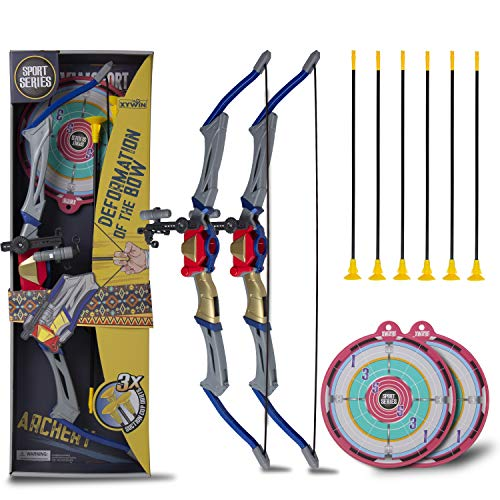 CloverCat 2 Pack Foldable Kids Bow and Arrow Set Kids Archery Shooting Set with Target, Quiver and Suction Cup Arrows Kids Toys Age 5, 6, 7, 8, 9 Years Old Boys and Girls