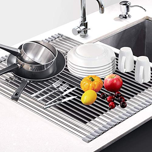 Estante multiusos enrollable para secar platos, para tazas, frutas, verduras, acero inoxidable, escurridor de platos, 47 x 32,8 cm (gris)
