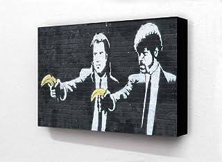 Banksy Graffiti Pulp Fiction Guns Bananas 6 x 4 Inches Postcard Size Horizontal Block mounted print by Laminated Posters