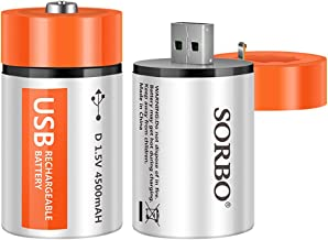 D Cell Batteries - USB Rechargeable Lithium D Batteries - 1.5V / 4500mAh (2-Pack) - Not NI-MH/NI-CD/Alkaline Batteries - ECO-Friendly & Recyclable - No Memory Effect