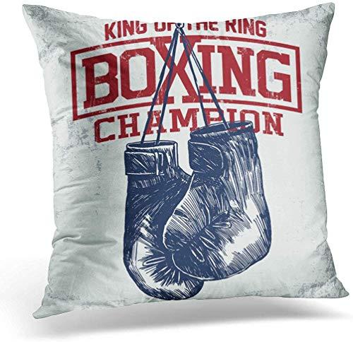 KINGAM Funda de cojín para gimnasio, guantes de boxeo, estilo vintage, para entrenamiento deportivo, 45 x 45 cm, decoración del hogar, funda de almohada cuadrada para sofá cama