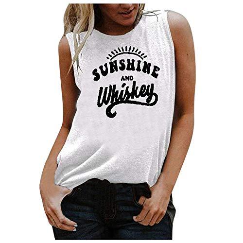 VJGOAL Camiseta sin Mangas Mujer Tank Top Deportivas Cuello Rredondo Camisetas de Tirantes Impresión de Cartas de Moda Casual de Verano Blusas de Chaleco sin Mangas Sueltas Vest (S, X-01Blanco)