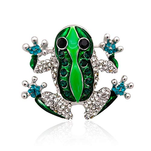 QYTSTORE Cute Rhinestone Frog Brooch, Size: 3.3 * 4 Cm, Unisex Green Animal Brooch Pin, Ladies Dress Coat Accessories Female Jewelry Elegant and romantic brooch