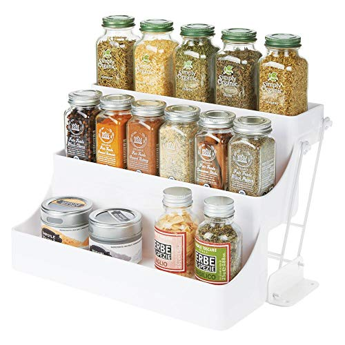 mDesign Plastic 3 Tier Pull Down Spice Rack - Easy Reach Retractable Large Capacity Kitchen Storage Shelf Organizer for Cabinet and Pantry - Holder for Seasoning Jars, Bottles, Shakers - White