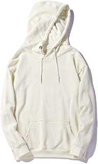 neveraway Men Solid Color Casual Sweatshirts Long-Sleeve Hooded Sweatshirt