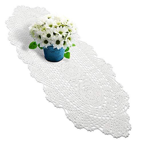 Yazi Chemin de table ovales en coton au crochet Style shabby vintage avec crochet Blanc 30 x 60 cm
