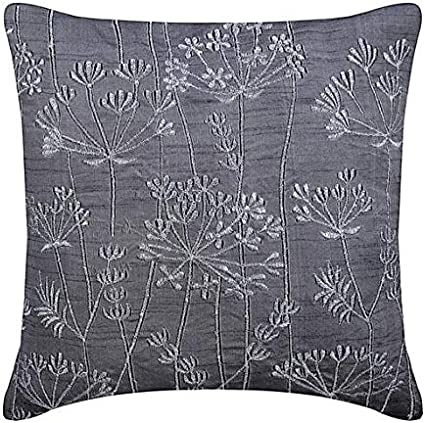 The Homecentric Decorative 22x22 Inch 55x55 Cm Pillow Covers Charcoal Grey Willow Design Zardozi Embroidered Pillows Cover Art Silk Throw Pillows Cover Floral Contemporary Willow Splendor Home Kitchen