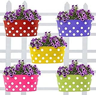 Trust Basket Dotted Oval Railing Planters (Multicolour, Pack of 5)