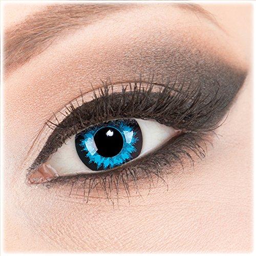 Farbige blaue schwarze Crazy Fun Kontaktlinsen 1 Paar 'Blue Crystal' mit Kombilösung (60ml) + Behälter - Topqualität von 'Evil Lens' zu Fasching Karneval Halloween ohne Stärke