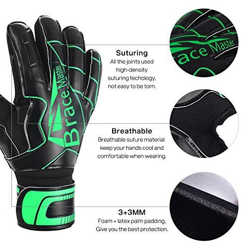Brace Master Torwarthandschuhe mit Fingerschutz,Protect & Super-Grip 3+3MM Handflächen Fussball Torwarthandschuhe Kinder Herren & Erwachsene - Diverse Größe und Farben - 6