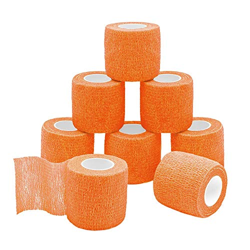 GooGou Self Adherent Wrap Bandages Self Adhering Cohesive Tape Elastic Athletic Sports Tape for Sports Sprain Swelling and Soreness on Wrist and Ankle 8PCS 2 in X 14.7 ft (Orange)