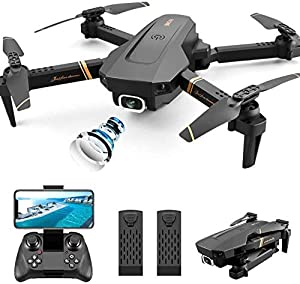 4DRC V4 Foldable Drone with 1080p HD Camera for Adults and Kids, Wide Angle FPV Live Video, Altitude Hold, Headless Mode,Gesture Selfie, Trajectory Flight ,2 Modular Batteries, Includes Carrying Case