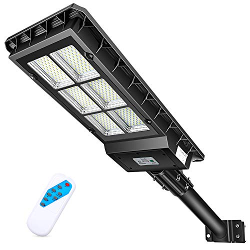"""Solar Street Lights Outdoor, 10000lm Monocrystalline Silicon Panel Dusk to Dawn Solar Powered Flood Parking Lot Lights with Motion Sensor Mounting Arm, Lamp Size 25.6"""" x 10.6"""" x 2.7"""""""