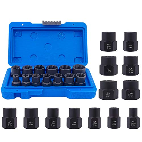 Bolt Extractor Tool, XOOL Impact Bolt & Nut Remover Set 13 Pieces, Nut Extractor Socket, Bolt Remover Tool Set with Hex Adapter for Remove Damaged, Frozen, Rusted Rounded-Off Bolts Nuts & Screws