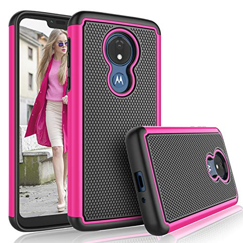 Moto G7 Power Case,Motorola Moto G7 Supra / G7 Optimo Maxx Case for Girls, Tekcoo [Tmajor] Shock Absorbing [Rose] Rubber & Plastic Scratch Resistant Bumper Grip Cute Sturdy Hard Phone Cases Cover
