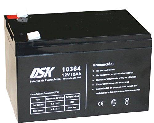 DSK 10364 - Batería Plomo tecnología Gel 12V 12 Ah, Negro Ideal para Cualquier Aparato de Movilidad eléctrica