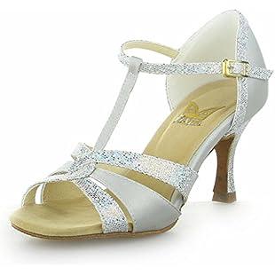 JIA JIA 20519 Latin Women's Sandals 2.7'' Flared Heel Super Satin with Sparkling Glitter Dance Shoes Silver, 5 UK/38 EU