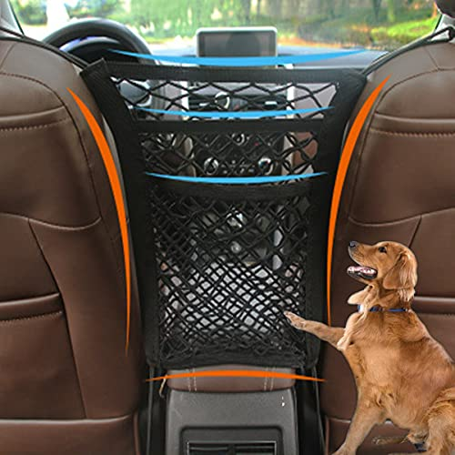 NIUBIKELAS 2/3 Layer,Car Seat Organiser,Storage Network of Car Seat,Car Seat Storage,For Bag Luggage Pets Childrendisturb Stopper,Universal Type For Storage of Sundries,with 4 Car Hooks (C)