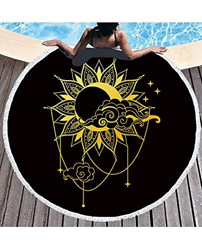 WLL Toallas De Playa De Golden Sun, Toalla De Playa PortáTil Redonda 150 Cm Resistente A La Arena SúPer Ligeray De Secado RáPido Ideal para De Tapices (Color : E)
