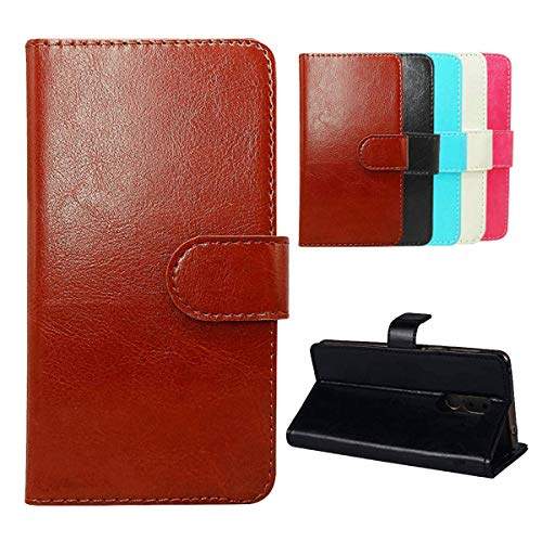 """Wallet Case for Nuu Mobile A1+,YZKJ Flip PU Elegant Retro Leather Case with Magnetic Closure Credit Card Slots and Stand Protective Cover for Nuu Mobile A1+ (4.0"""") - Brown"""