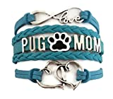 Kit's Kiss Pug Mom Bracelet, Pug Mom Jewelry, Pets Bracelet, Dog Paw Print Charm, Dog Mom Bracelet, Gift for Mom, Mom Bracelet, Mom Jewelry, Love Infinity Bracelet, Leather Bracelet (Blue)